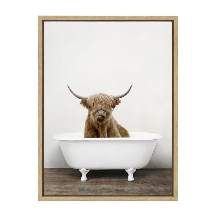 Kate And Laurel Sylvie Highland Cow In Tub Color Framed Canvas By Amy Peterson 18x24 Natural In The Wall Art Department At Lowes Com