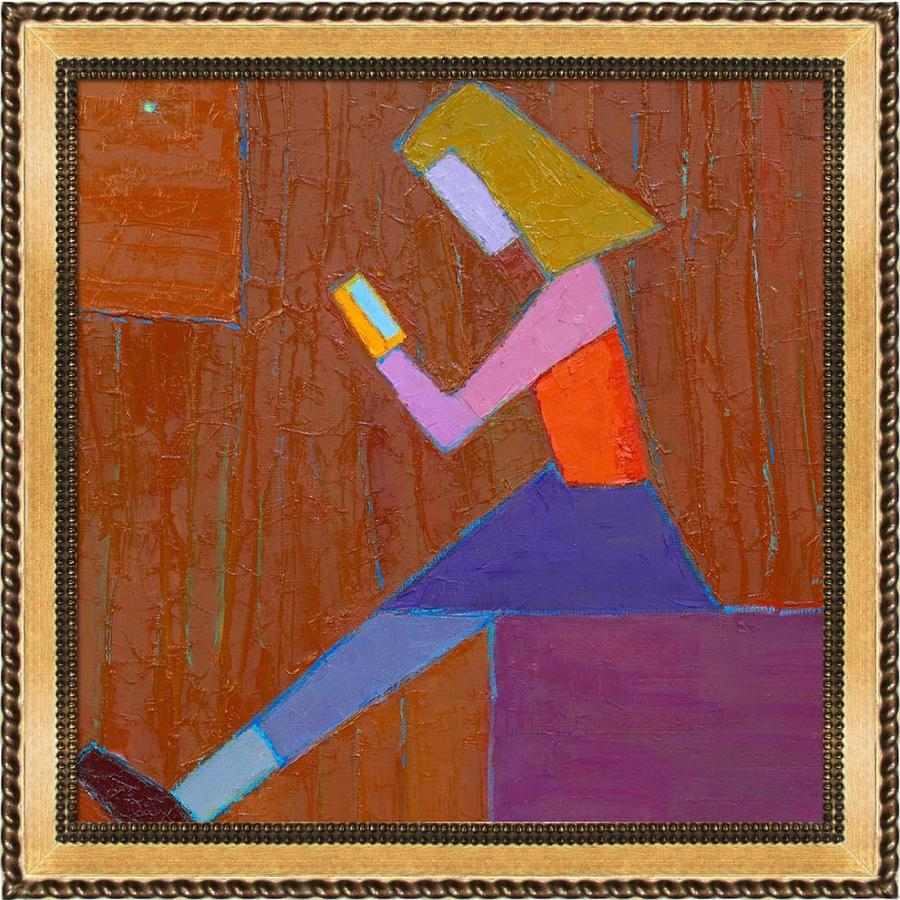 Artistbe Artistbe By Overstockart The Girl On A Cube By Alexey Rubanov With Gold Verona Bead And Braid Frame Canvas Wall Art 28 75 In X 28 75 In In The Wall Art Department At Lowes Com