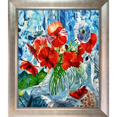 Artistbe Artistbe By Overstockart Still Life With Poppies Reproduction By Celito Medeiros With Silver Champagne Scoop With Swirl Lip Frame Oil Painting Wall Art 29 In X 25 In In The Wall Art Department