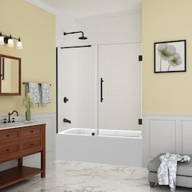 Aston Belmore 59 25 In To 60 25 In X 60 In Frameless Hinged Tub Door In Stainless Steel In The Bathtub Shower Door Glass Department At Lowes Com