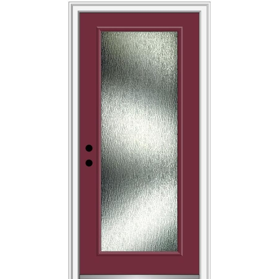 Mmi Door Rainglass 32 In X 80 In Fiberglass Full Lite Right Hand Inswing Burgundy Painted Prehung Single Front Door With Brickmould In The Front Doors Department At Lowes Com