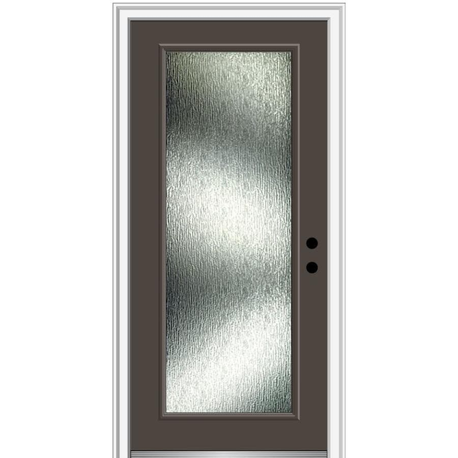 Mmi Door Rainglass 36 In X 80 In Fiberglass Full Lite Left Hand Inswing Brown Painted Prehung Single Front Door With Brickmould In The Front Doors Department At Lowes Com