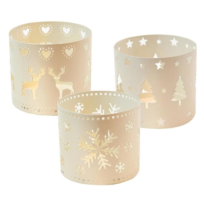 Three Metal Cylinder Tealight Candle  Holders