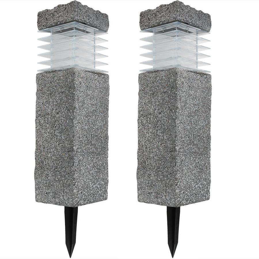 Sunnydaze Decor 18 In Outdoor Cement Bollard Solar Pathway Light Set Of Two In The Path Lights Department At Lowes Com
