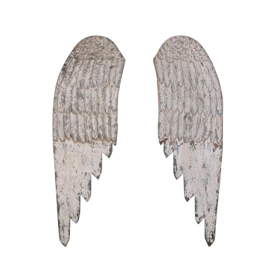 Creative Co Op Large Decorative Wood Wall Angel Wings In Distressed Cream Set Of 2 In The Wall Accents Department At Lowes Com
