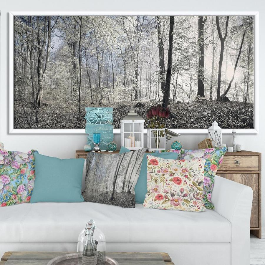 Designart Dark Morning In Forest Panorama Large Landscape Framed Canvas Art Print In The Wall Art Department At Lowes Com