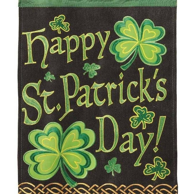 Dicksons Dicksons M001112 29 X 42 In Flag Double Applique Happy St Patricks Day Burlap Large In The Endless Aisle Department At Lowes Com