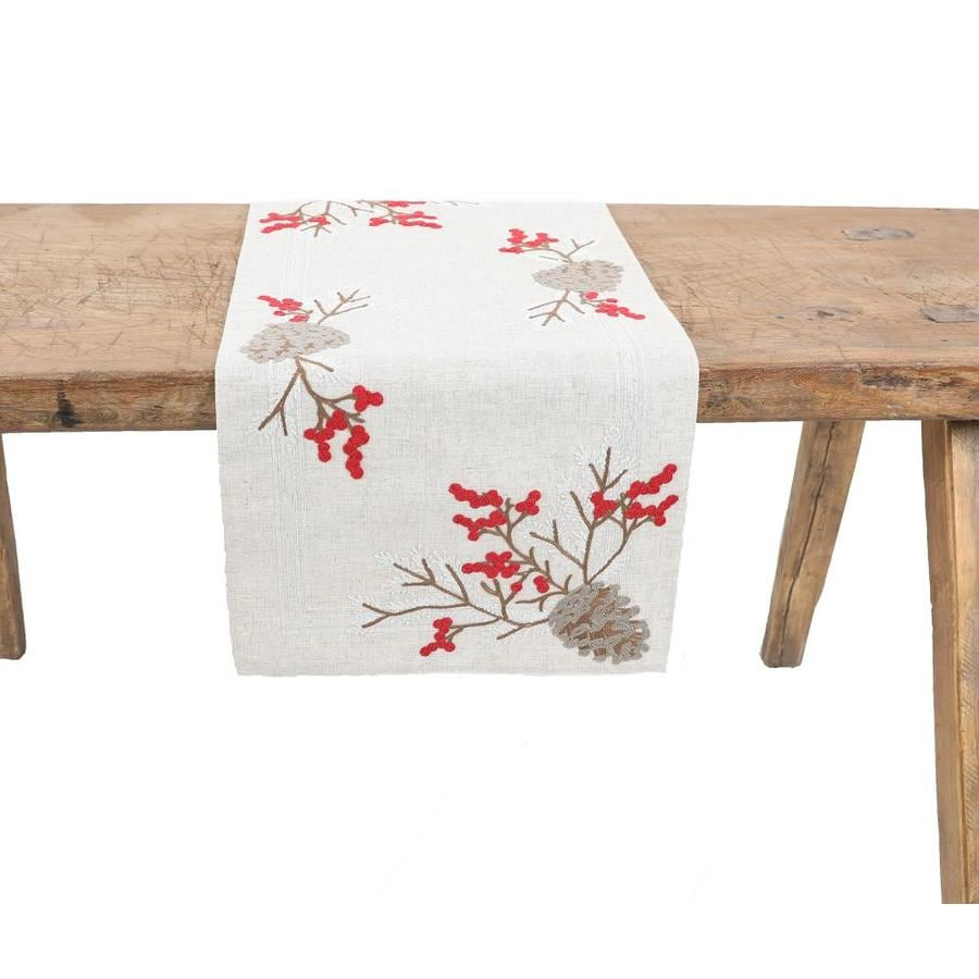 Xia Home Fashions Christmas Pine Cone Crewel Embroidered Table Runner In The Christmas Decor Department At Lowes Com