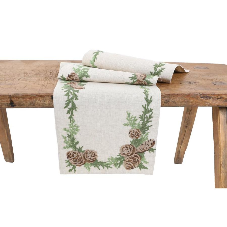 Xia Home Fashions Winter Pine Cones And Branches Crewel Embroidered Table Runner In The Christmas Decor Department At Lowes Com