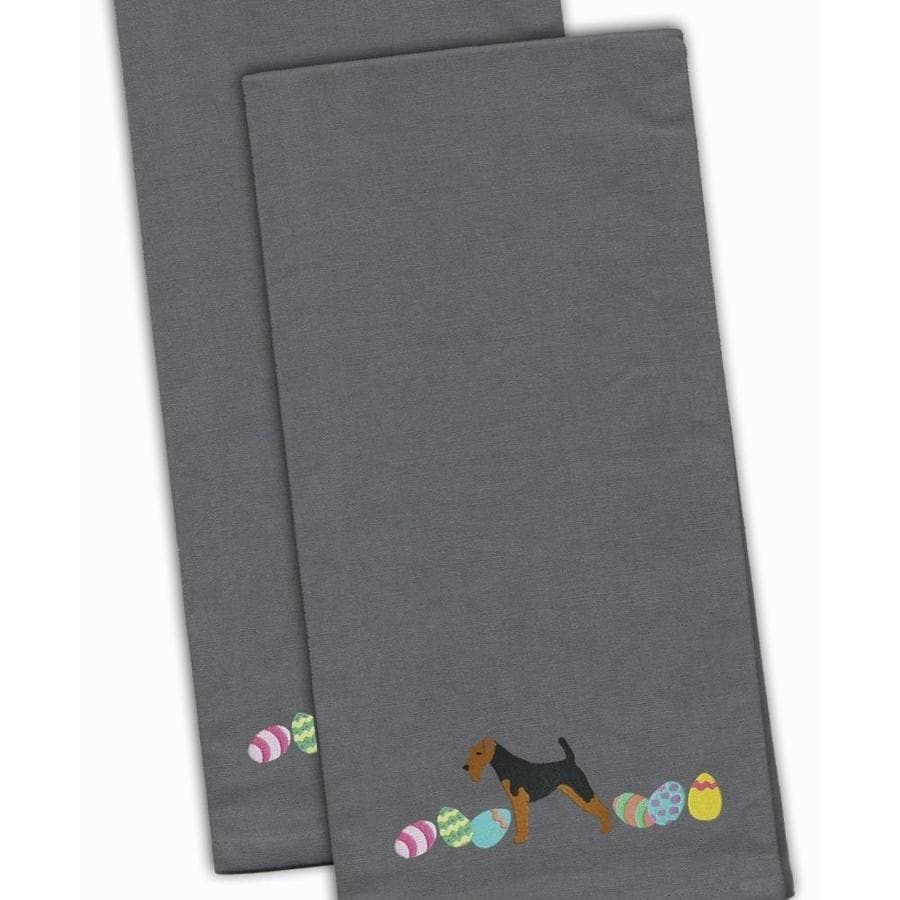 Caroline S Treasures Ck1693gytwe Welsh Terrier Easter Gray Embroidered Kitchen Towel Set Of 2 In The Endless Aisle Department At Lowes Com