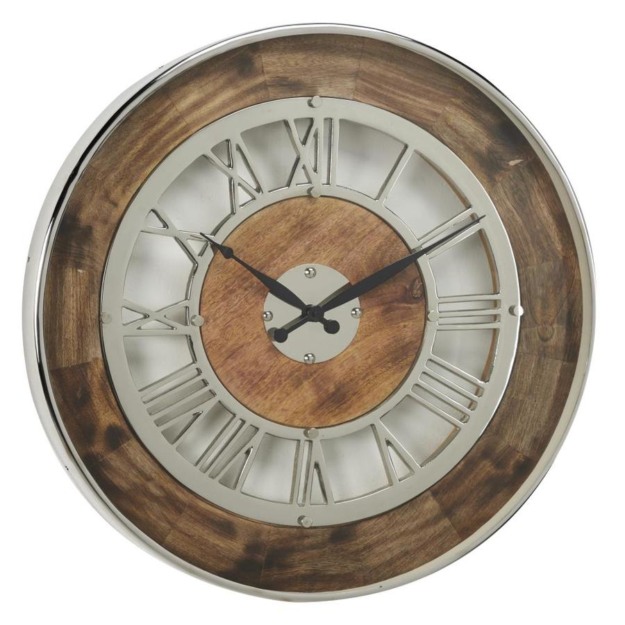 Grayson Lane Industrial Brown Wood And Silver Metal Oversized Wall Clock With Roman Numerals 24 8221 In The Clocks Department At Lowes Com