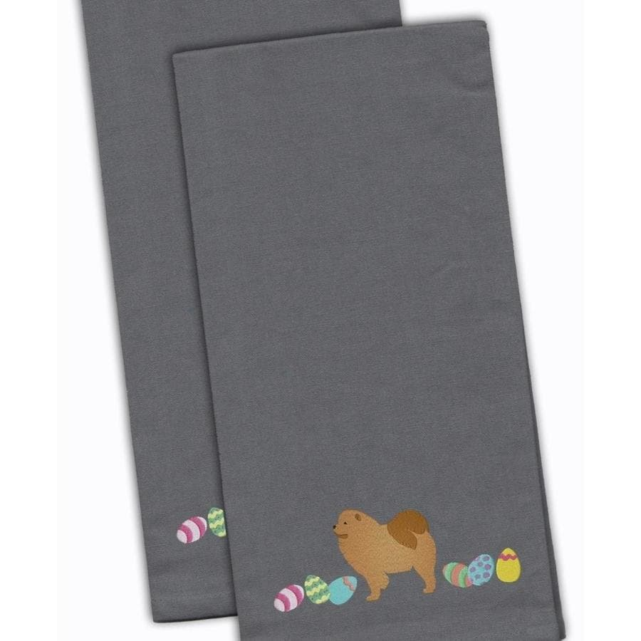 Caroline S Treasures Ck1626gytwe Chow Chow Easter Gray Embroidered Kitchen Towel Set Of 2 In The Endless Aisle Department At Lowes Com