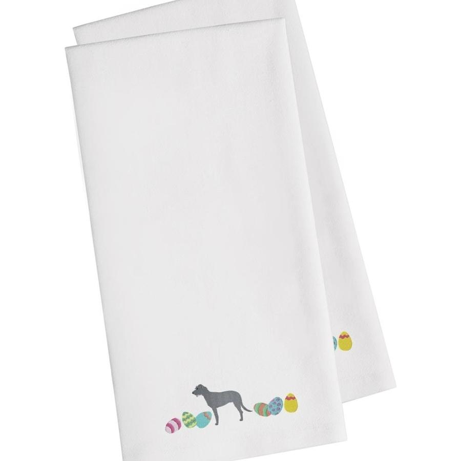 Caroline S Treasures Ck1653whtwe Irish Wolfhound Easter White Embroidered Kitchen Towel Set Of 2 In The Endless Aisle Department At Lowes Com