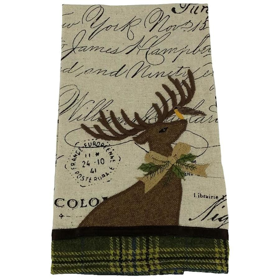 Manor Luxe Reindeer With Applique Suede Collection Christmas Tea Towel 16 By 22 In In The Christmas Tree Skirts Collars Department At Lowes Com