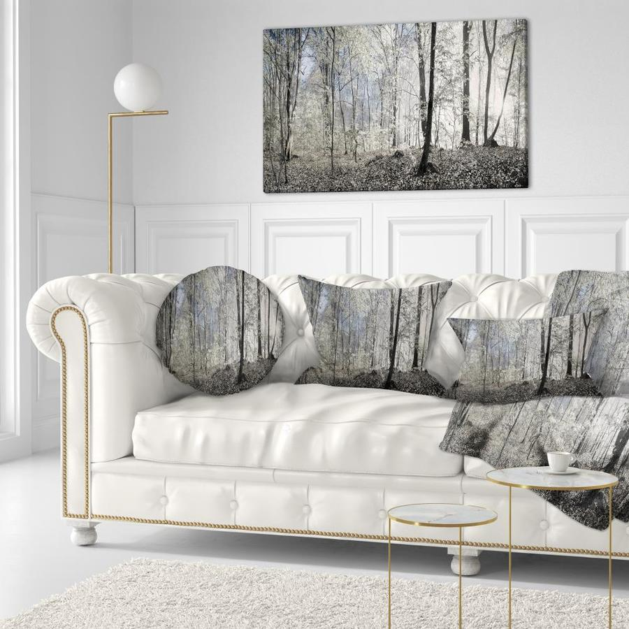 Designart Designart Dark Morning In Forest Panorama Landscape Printed Throw Pillow In The Throw Pillows Department At Lowes Com
