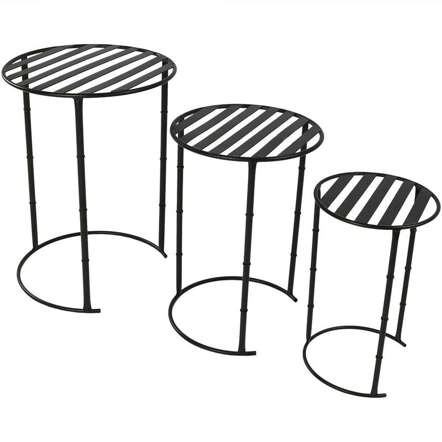 Sunnydaze Decor 22 In Black Outdoor Round Steel Plant Stand In The Plant Stands Department At Lowes Com