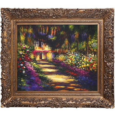La Pastiche La Pastiche By Overstockart Pathway In Monet S Garden At Giverny By Claude Monet With Gold Burgeon Frame Oil Painting Wall Art 33 5 In X 29 5 In In The Wall Art Department At Lowes Com