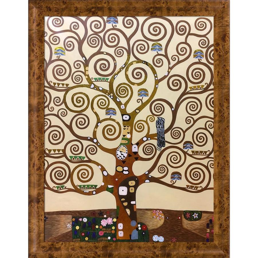 La Pastiche La Pastiche By Overstockart Tree Of Life By Gustav Klimt With Natural Wood Havana Burl Frame Oil Painting Wall Art 45 75 In X 35 75 In In The Wall Art Department At Lowes Com