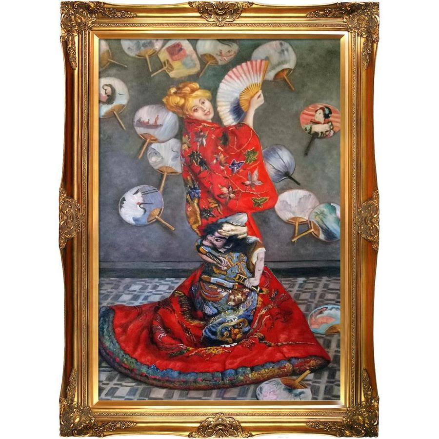 La Pastiche La Pastiche By Overstockart La Japonaise Camille Monet In Japanese Costume By Claude Monet With Gold Victorian Frame Oil Painting Wall Art 44 In X 32 In In The Wall Art Department