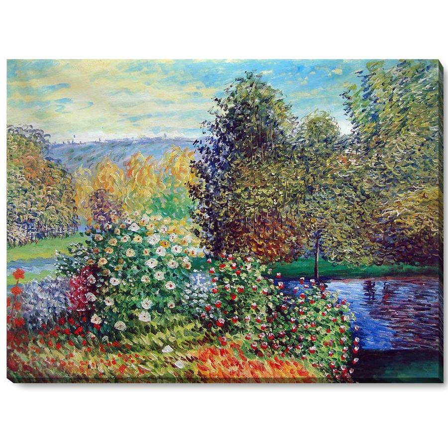 La Pastiche La Pastiche By Overstockart Corner Of The Garden At Montgeron By Claude Monet Gallery Wrapped Canvas Oil Painting Reproduction Wall Art 46 In X 34 In In The Wall Art Department At