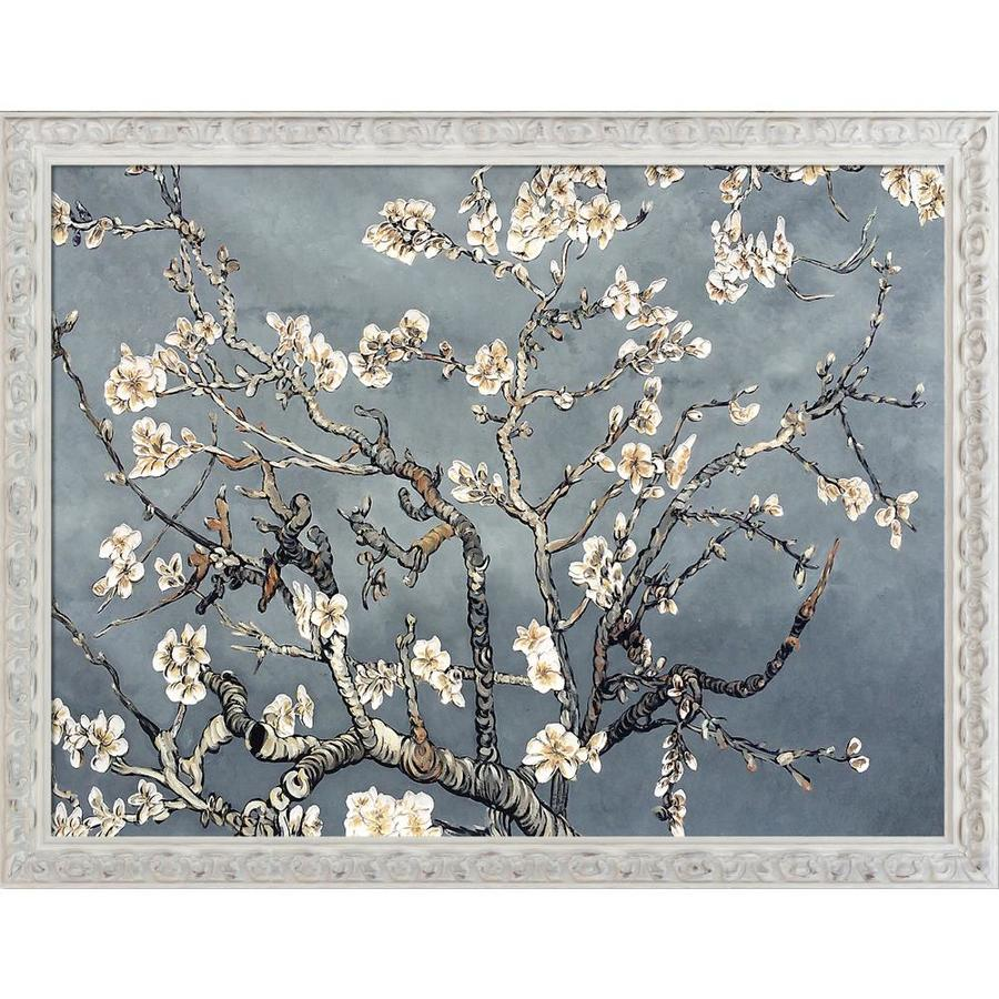 La Pastiche La Pastiche By Overstockart Branches Of An Almond Tree In Blossom Pearl Grey By La Pastiche Originals With White Brimfield Cottage Antiqued Frame Oil Painting Wall Art 53 In X 41 In