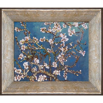 La Pastiche La Pastiche By Overstockart Branches Of An Almond Tree In Blossom By Vincent Van Gogh With Silver Luna Distressed Frame Oil Painting Wall Art 14 In X 12 In In The Wall