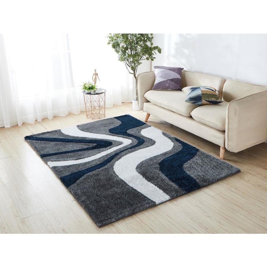 Amazing Rugs Aria 8 X 11 Gray Blue White Indoor Solid Handcrafted Area Rug In The Rugs Department At Lowes Com