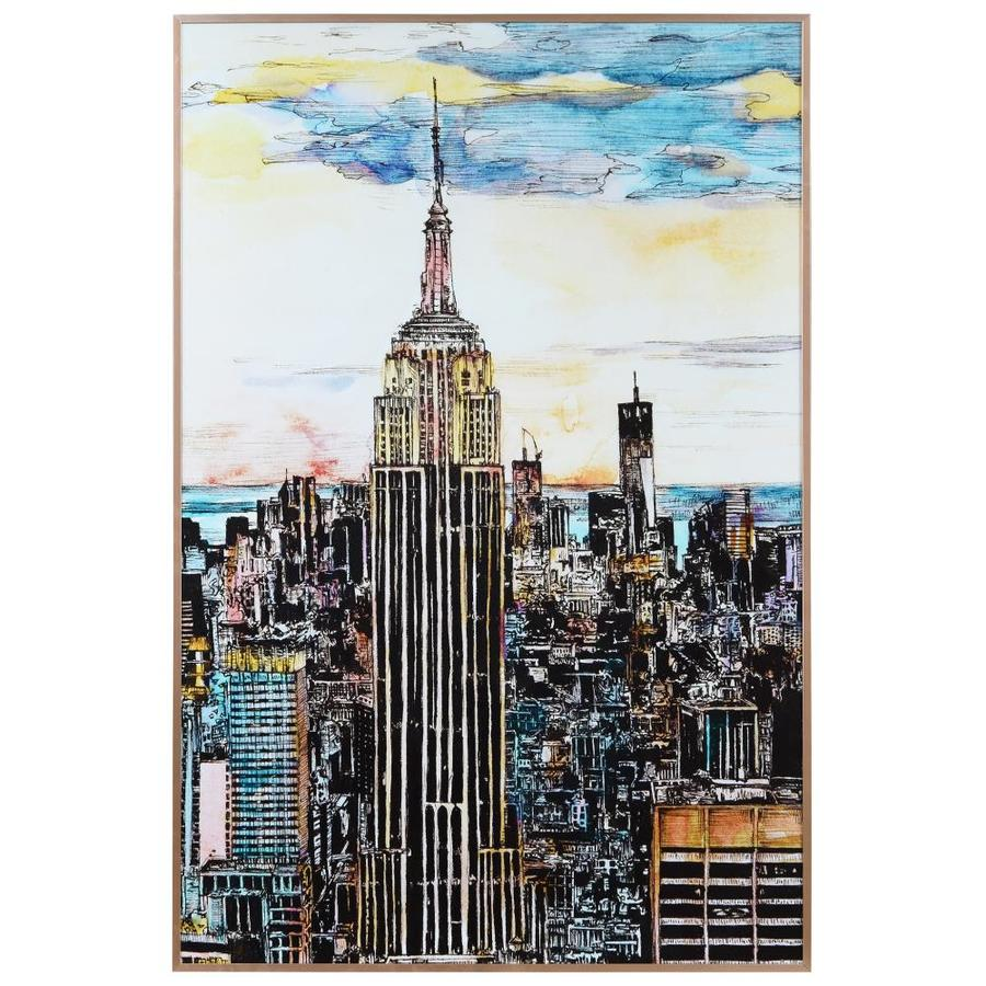 Empire Art Direct 36 In X 24 In Empire State Building Printed Art Glass And Anodized Aluminum Rose Gold Frame Wall Art In The Wall Art Department At Lowes Com