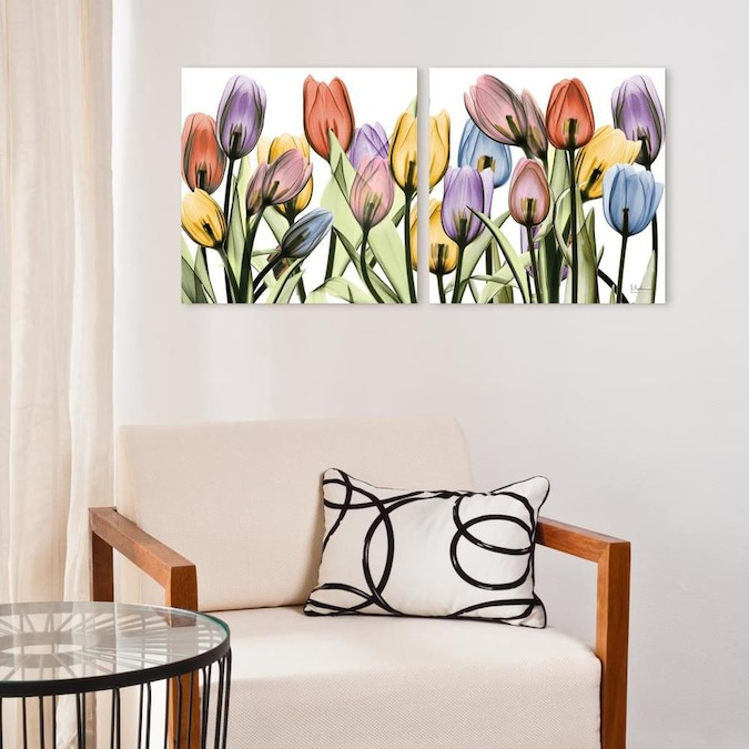 Empire Art Direct Wall Art 24 X 24 X 0 2 Each Tulip Scape X Ray I And Ii Frameless Free Floating Tempered Glass Panel Graphic Wall Art In The Wall Art Department At
