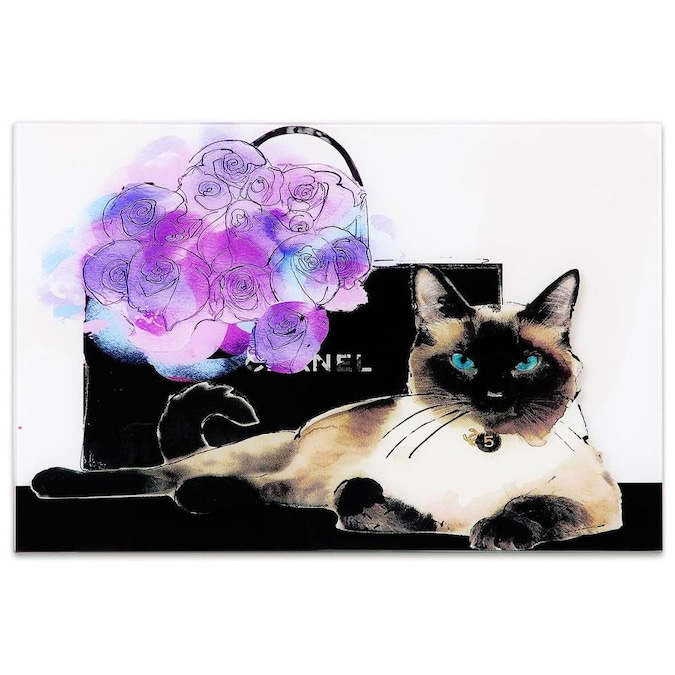 Empire Art Direct Wall Art 24 X 16lilac Bouquet Cat Frameless Free Floating Tempered Glass Panel Graphic Wall Art In The Wall Art Department At Lowes Com