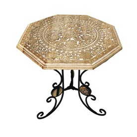 Mercana Esagono Ii 19 3 In X 20 9 In Hexagonal Brass And Natural Wood Hinged Top End Side Table In The End Tables Department At Lowes Com