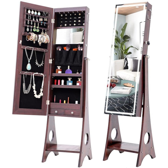 casainc standing jewelry storage mirror cabinet with led