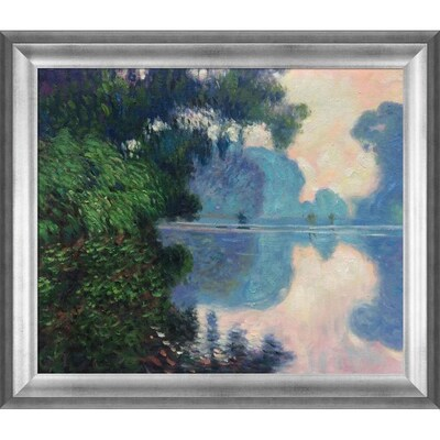 La Pastiche La Pastiche By Overstockart Morning On The Seine Near Giverny By Claude Monet With Silver Athenian Antiqued Frame Oil Painting Wall Art 29 In X 25 In In The Wall Art Department