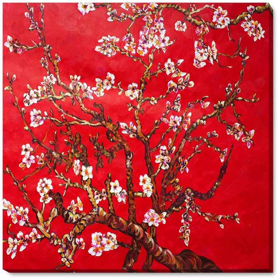 La Pastiche La Pastiche By Overstockart Branches Of An Almond Tree In Blossom Ruby Red By La Pastiche Originals Gallery Wrapped Canvas Oil Painting Reproduction Wall Art 22 In X 22 In In The