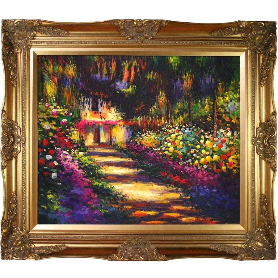 La Pastiche La Pastiche By Overstockart Pathway In Monet S Garden At Giverny By Claude Monet With Gold Victorian Frame Oil Painting Wall Art 32 In X 28 In In The Wall Art Department At