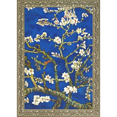 La Pastiche La Pastiche By Overstockart Branches Of An Almond Tree In Blossom Sapphire Blue By La Pastiche Originals With Silver And Gold Rococo Antiqued Frame Oil Painting Wall Art 41 5 In X