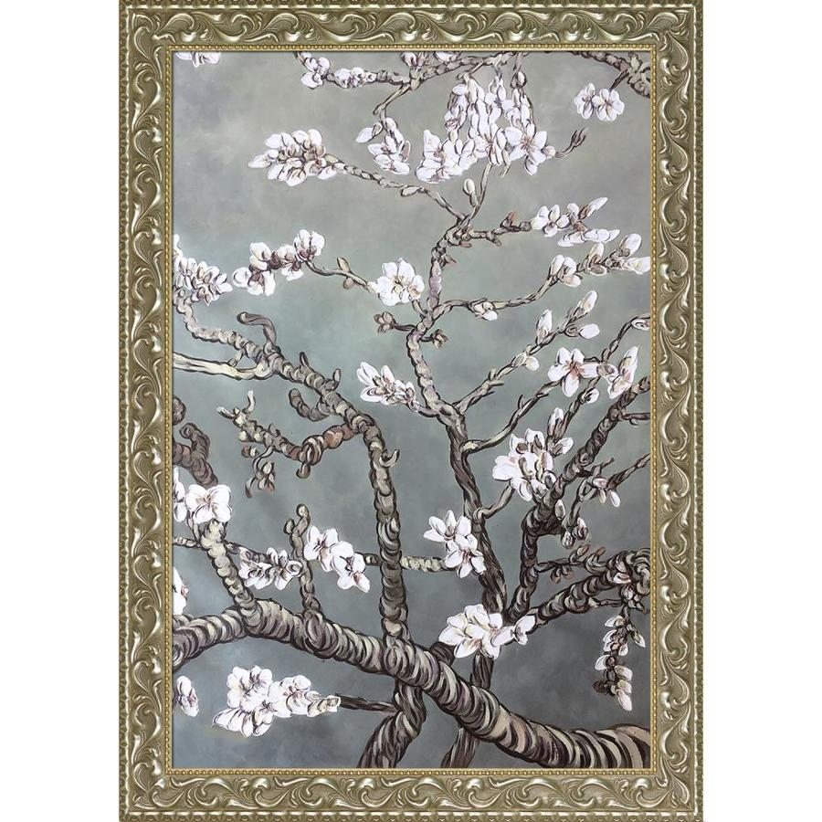 La Pastiche La Pastiche By Overstockart Branches Of An Almond Tree In Blossom Pearl Grey By La Pastiche Originals With Silver And Gold Rococo Antiqued Frame Oil Painting Wall Art 41 5 In X