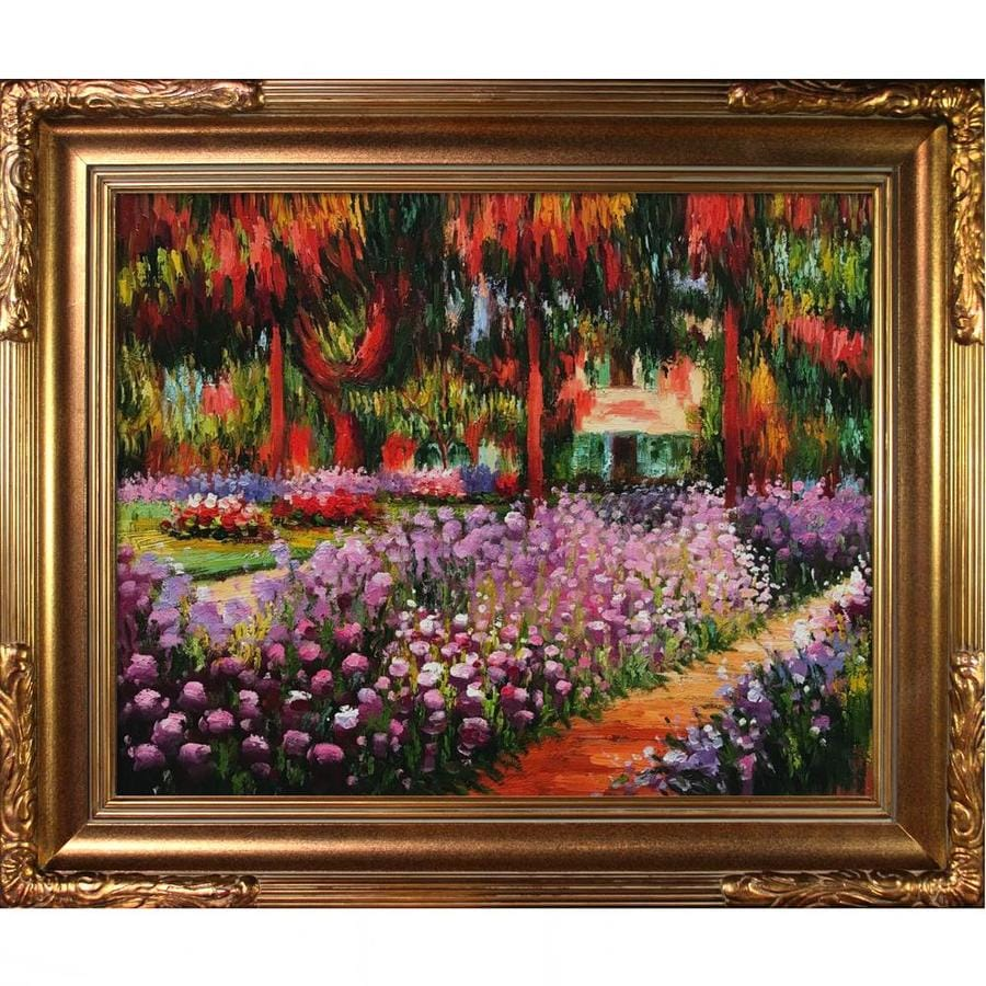 La Pastiche La Pastiche By Overstockart Artist S Garden At Giverny By Claude Monet With Gold Florentine Frame Oil Painting Wall Art 27 In X 23 In In The Wall Art Department At Lowes Com