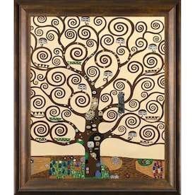 La Pastiche La Pastiche By Overstockart Tree Of Life By Gustav Klimt With Natural Wood Panzano Frame Oil Painting Wall Art 27 In X 23 In In The Wall Art Department At Lowes Com