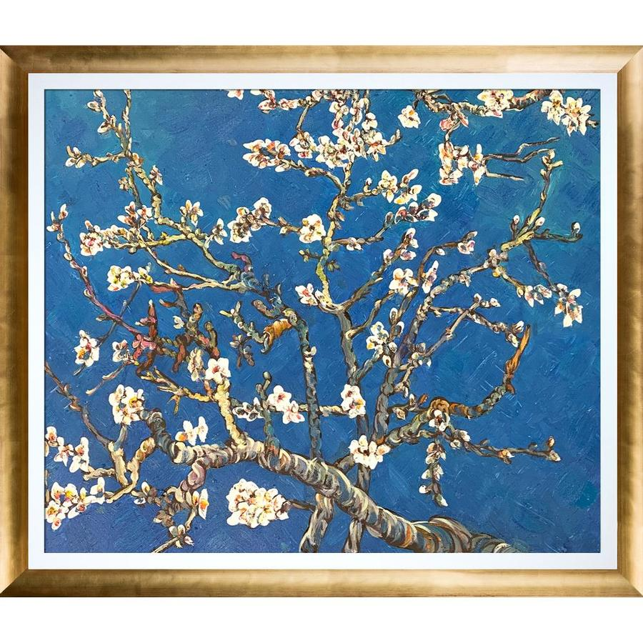 La Pastiche La Pastiche By Overstockart Branches Of An Almond Tree In Blossom By Vincent Van Gogh With Gold And White Luminoso Stacked Frame Oil Painting Wall Art 28 5 In X 24 5 In In