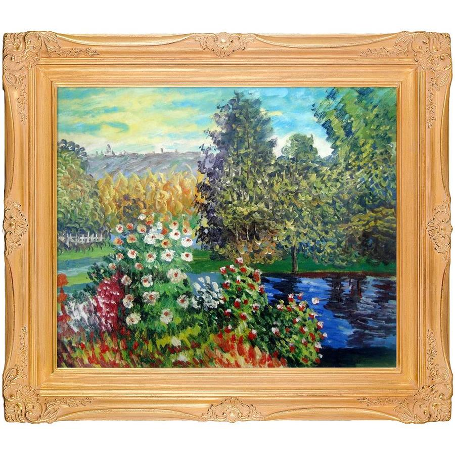 La Pastiche La Pastiche By Overstockart Corner Of The Garden At Montgeron By Claude Monet With Gold Imperial Frame Oil Painting Wall Art 31 5 In X 27 5 In In The Wall Art Department At