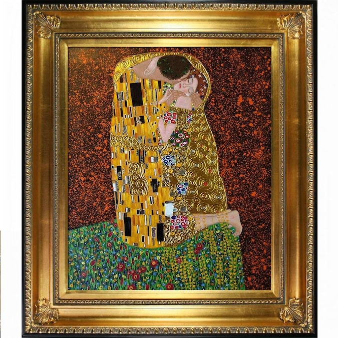 La Pastiche La Pastiche By Overstockart The Kiss Full View By Gustav Klimt With Gold And Black Regency Frame Oil Painting Wall Art 32 5 In X 28 5 In In The Wall Art Department At