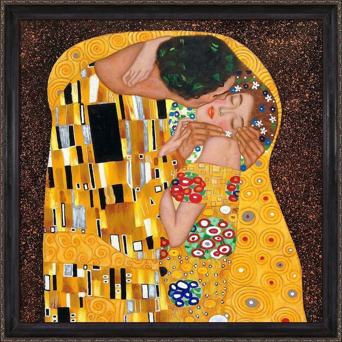La Pastiche La Pastiche By Overstockart The Kiss By Gustav Klimt With Black And Gold La Scala Frame Oil Painting Wall Art 27 In X 27 In In The Wall Art Department At Lowes Com