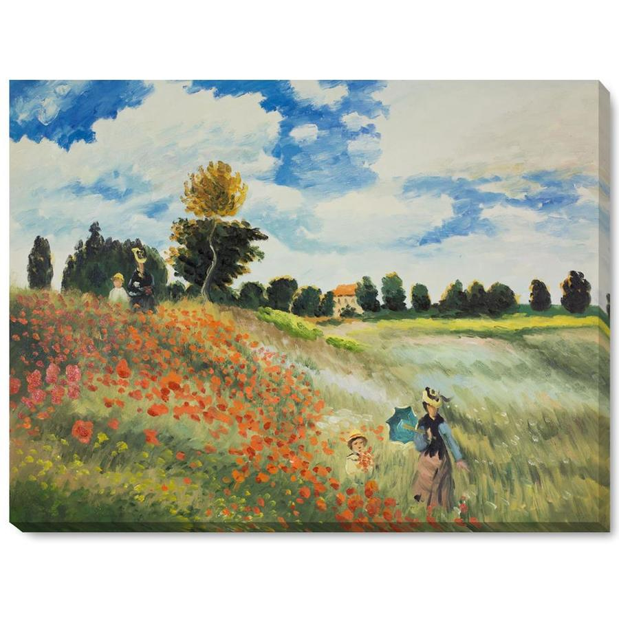 La Pastiche La Pastiche By Overstockart Poppy Field In Argenteuil By Claude Monet Gallery Wrapped Canvas Oil Painting Reproduction Wall Art 38 In X 28 In In The Wall Art Department At Lowes Com