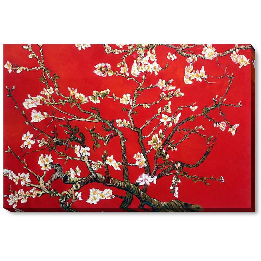 La Pastiche La Pastiche By Overstockart Branches Of An Almond Tree In Blossom Ruby Red By Vincent Van Gogh Gallery Wrapped Canvas Oil Painting Reproduction Wall Art 34 In X 22 In In The
