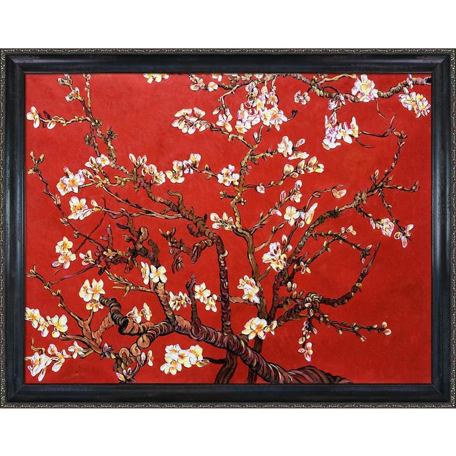 La Pastiche La Pastiche By Overstockart Branches Of An Almond Tree In Blossom Ruby Red By Vincent Van Gogh With Black And Gold La Scala Frame Oil Painting Wall Art 43 In X