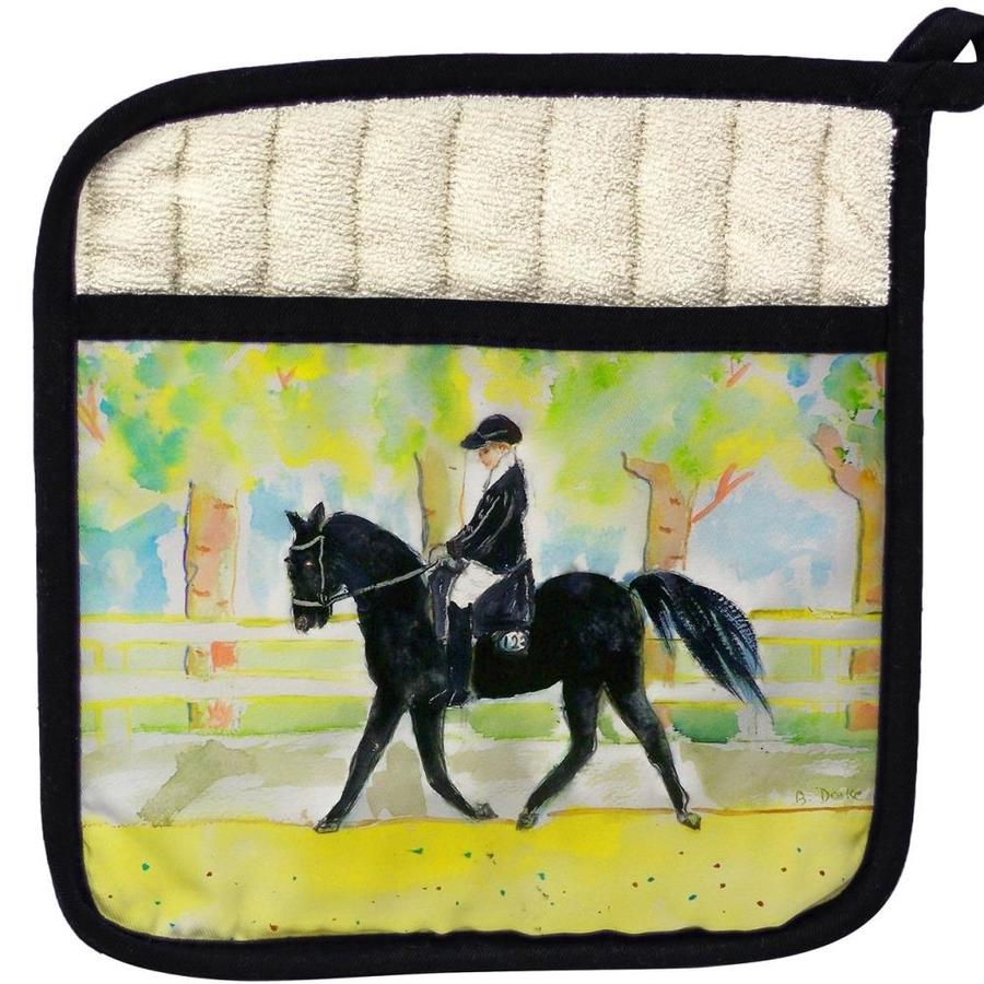 Betsy Drake Interiors Betsy Drake Pt141 Black Horse And Rider Pot Holder In The Kitchen Tools Department At Lowes Com