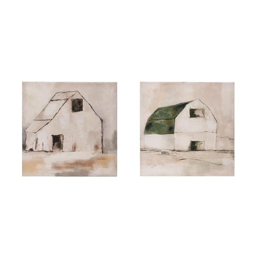 Creative Co Op 18 In Square Hand Painted Canvas Wall Decor With Barn Set Of 2 Styles In The Wall Accents Department At Lowes Com
