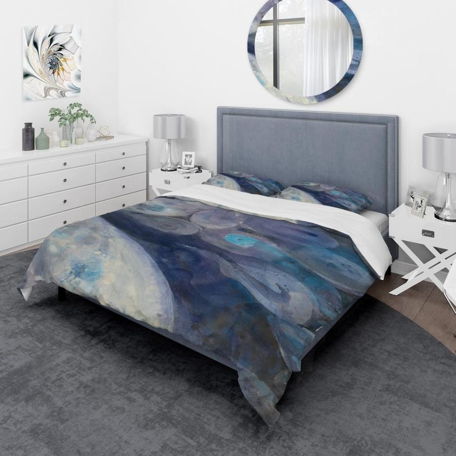 Designart Into The Indigo Stream I Geometric Duvet Cover Set In The Bedding Sets Department At Lowes Com