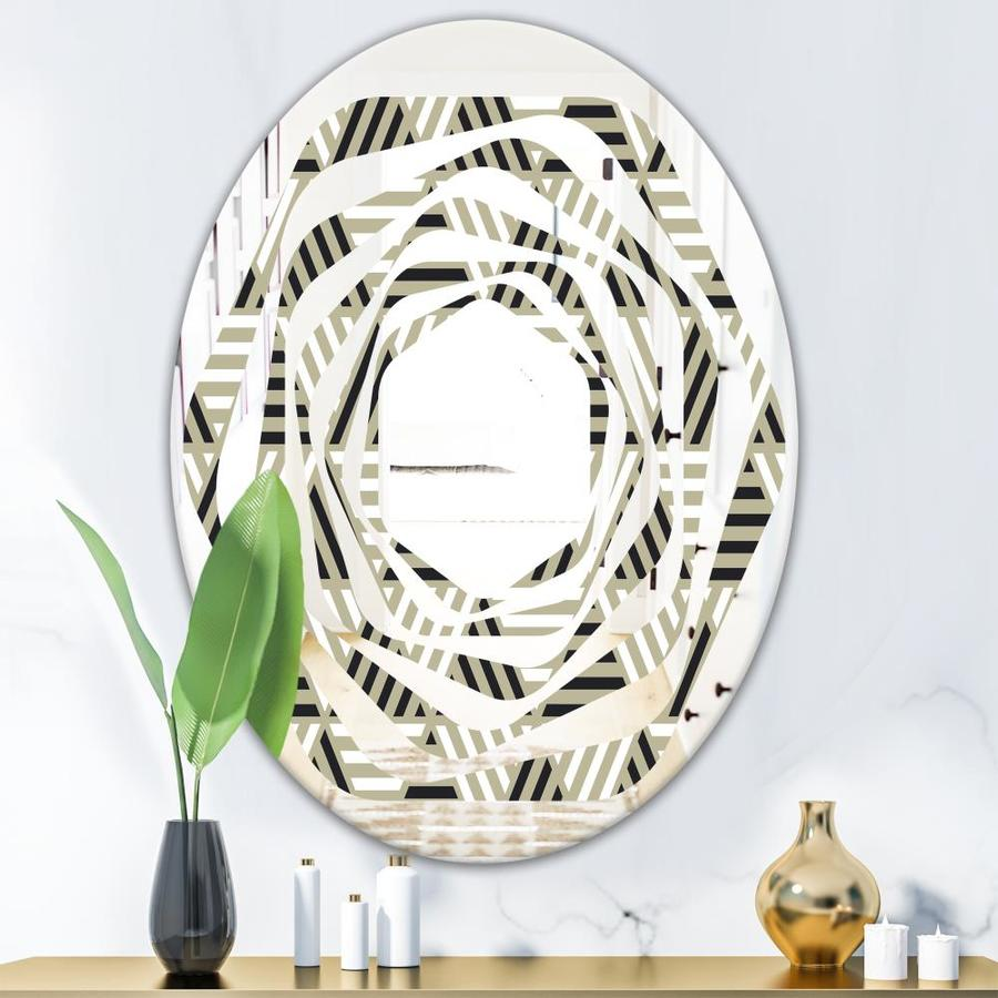 Designart Triangular Retro Design Viii Modern Oval Wall Mirror Whirl In The Mirrors Department At Lowes Com